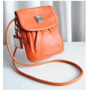 Tignanello Pebbled Leather Crossbody Purse- Orange